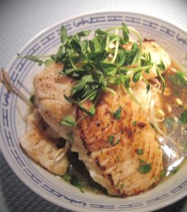 Seared Haddock in Cremini Broth & Sprouts
