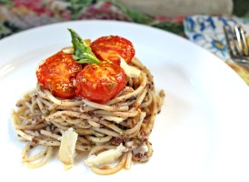 Spaghetti Parkantino with Pan Roasted Tomatoes