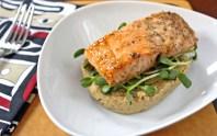 Roasted Salmon with Cauliflower Puree & Sunflower Greens