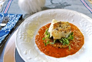 Seared Cod with Pea Shoots, Zucchini Cake & Romesco Sauce