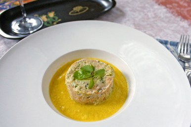 Seafood Roulade with Yellow Pepper Sabayon Sauce