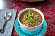 Asian Barley Soup with Ginger Meatballs