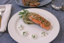 Slow Roasted Salmon with Skillet Barley & Broccolini & Horseradi