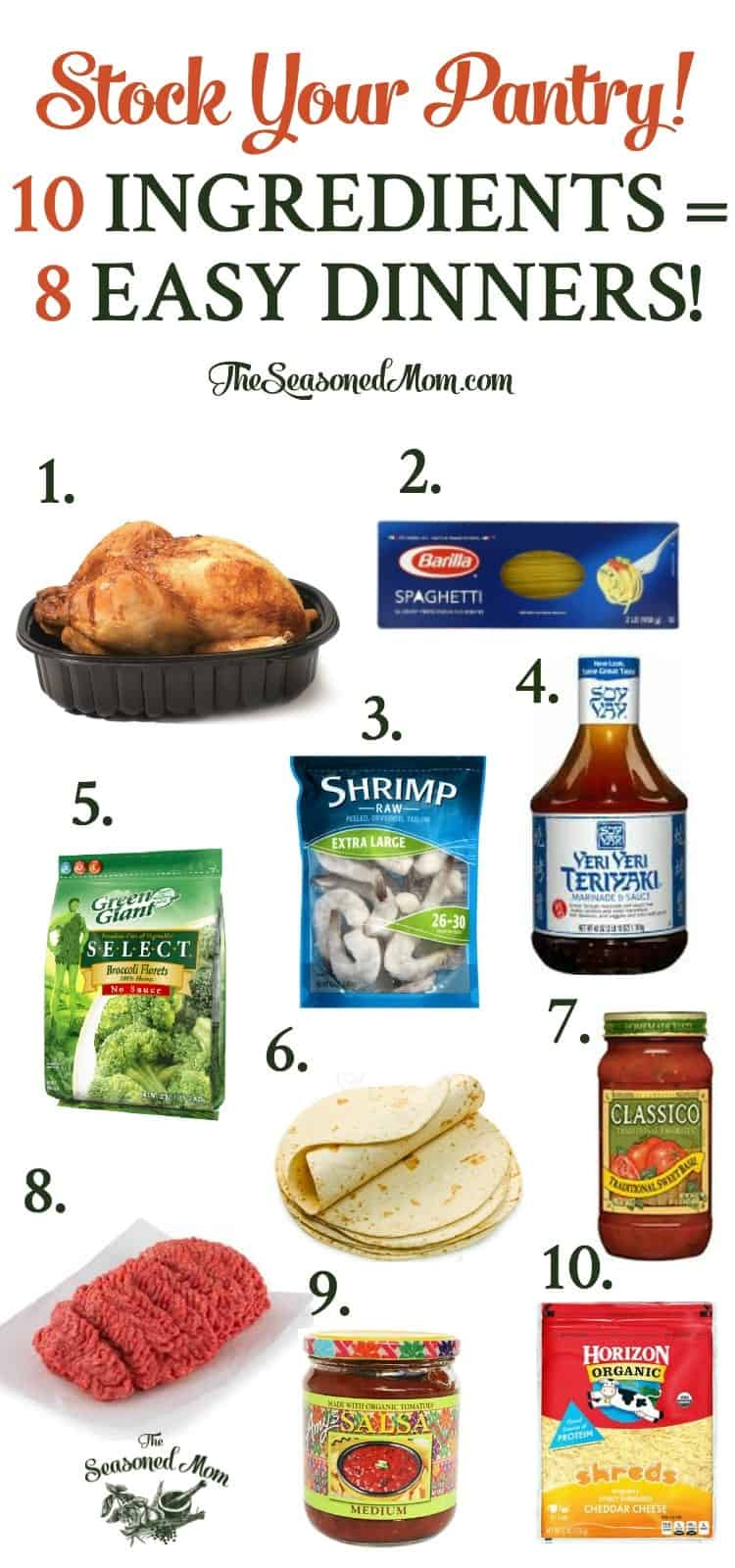 Stock your pantry with these 10 basic ingredients and create 8 easy weeknight dinners -- no last-minute grocery shopping necessary!