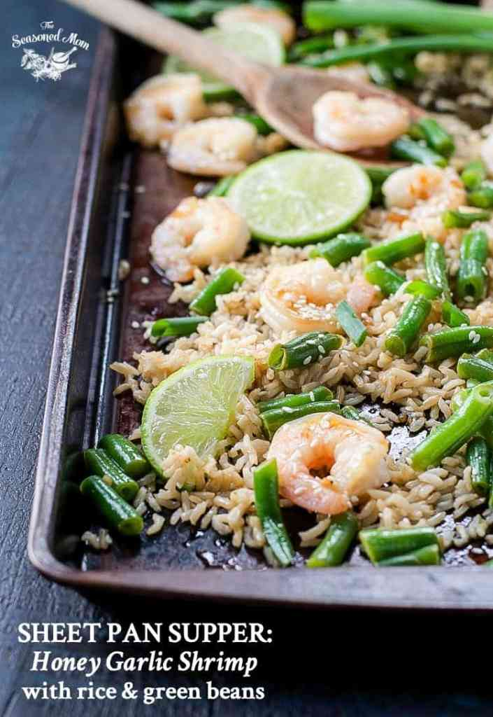 Sheet Pan Supper: Honey Garlic Shrimp with Rice and Green Beans