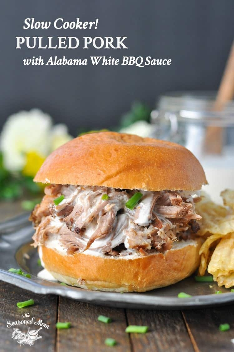Slow Cooker Pulled Pork with Alabama White Barbecue Sauce  The Seasoned Mom