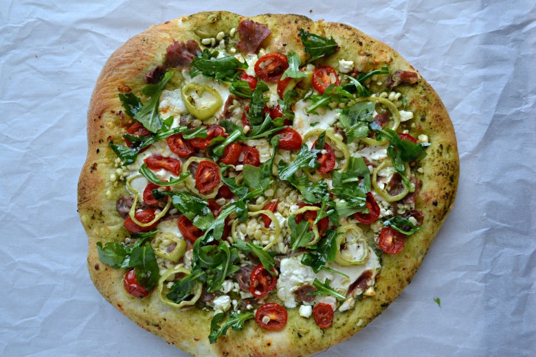 Arugula & Basil Pesto Pizza with Corn, Tomatoes and ...