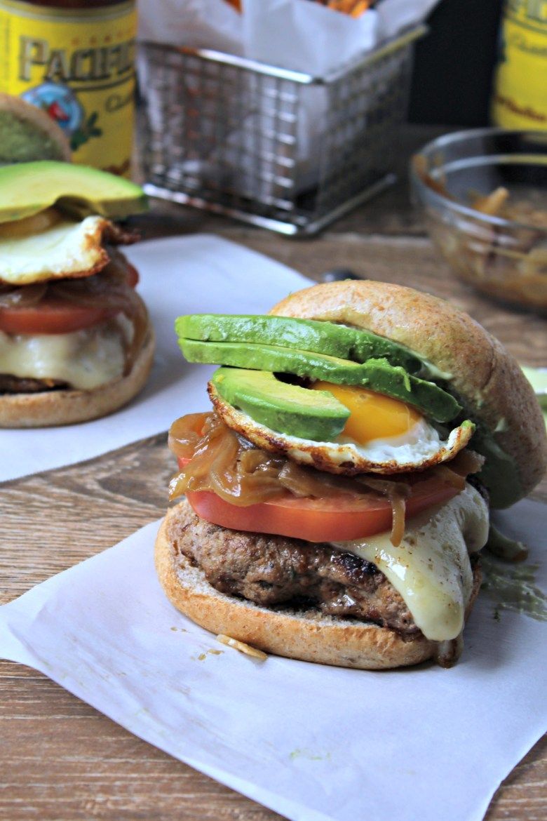 Loaded Cheeseburgers with Lemon Basil Aioli
