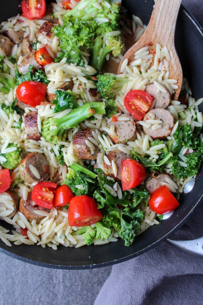 orzo with chicken sausage and broccoli