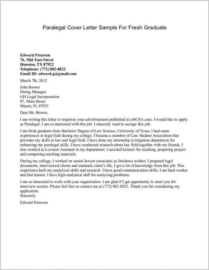 Cover Letter For Graduate Job Save Template