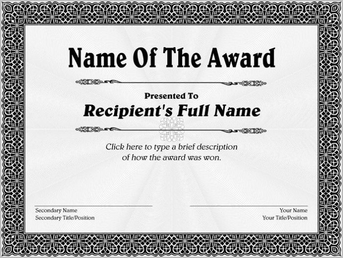Life Saving Award Certificate Template Templates-1