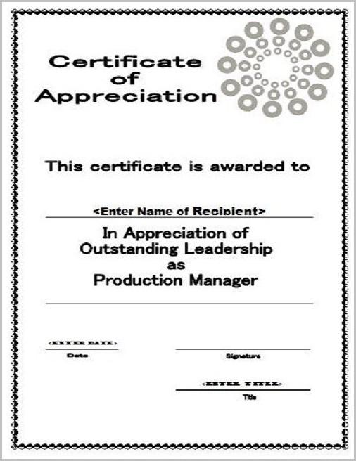 Certificate Of Appreciation For Church Workers Template