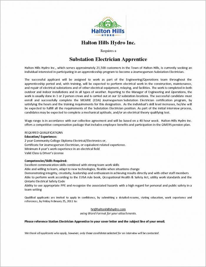 Cover Letter For Electrician Job Application Coverletter