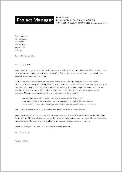 Cover Letter Examples For Resume Project Manager Cover