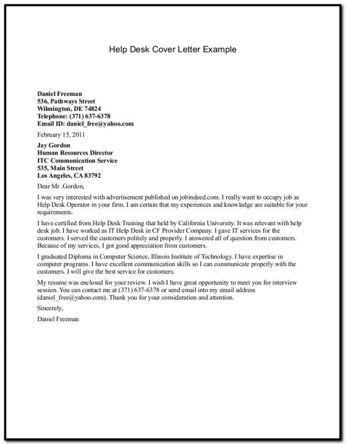 It Help Desk Cover Letter Sample Coverletter  Resume