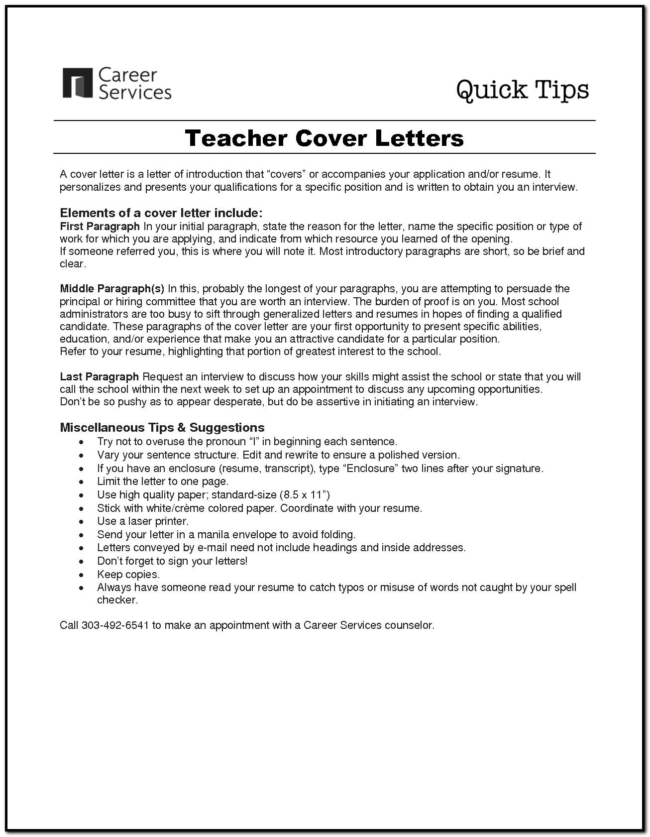 Sample Cover Letter For Beginner Teacher Cover Letter