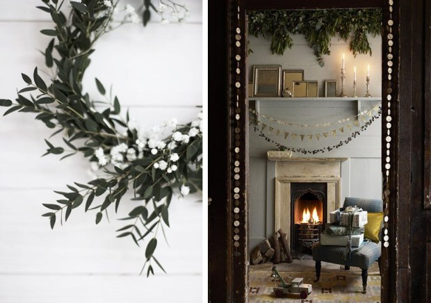 Christmas wreath and fireplace