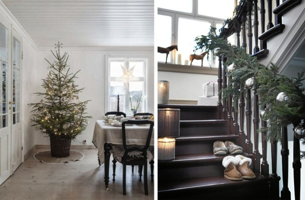 Christmas tree, stair garland and silver decorations