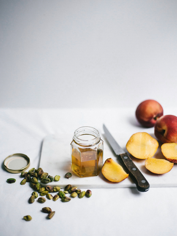 Recipe | Honey-baked peaches, marscapone & pistachios | These Four Walls blog