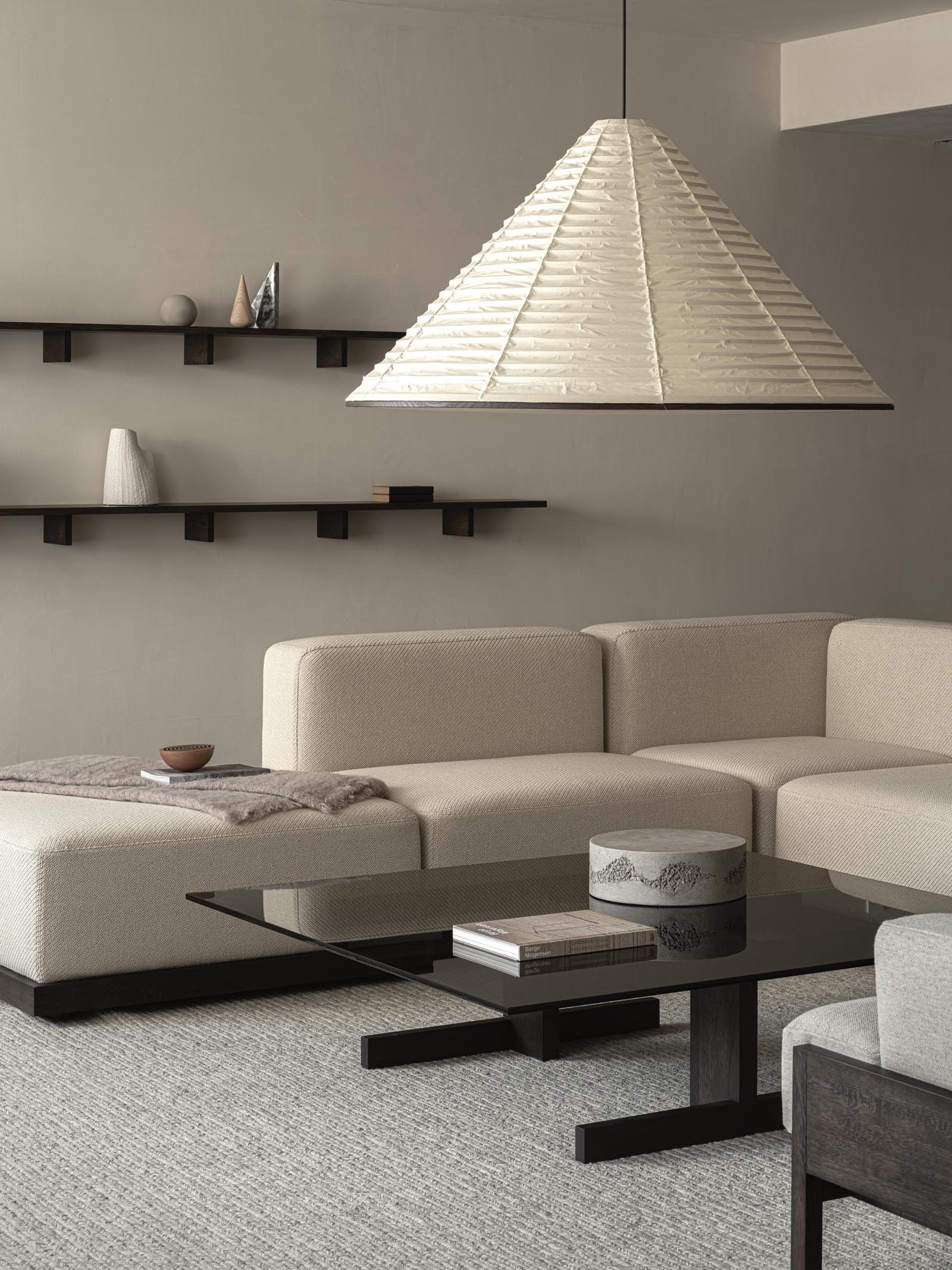 Minimalist Japandi living room in neutral earthy tones | These Four Walls blog