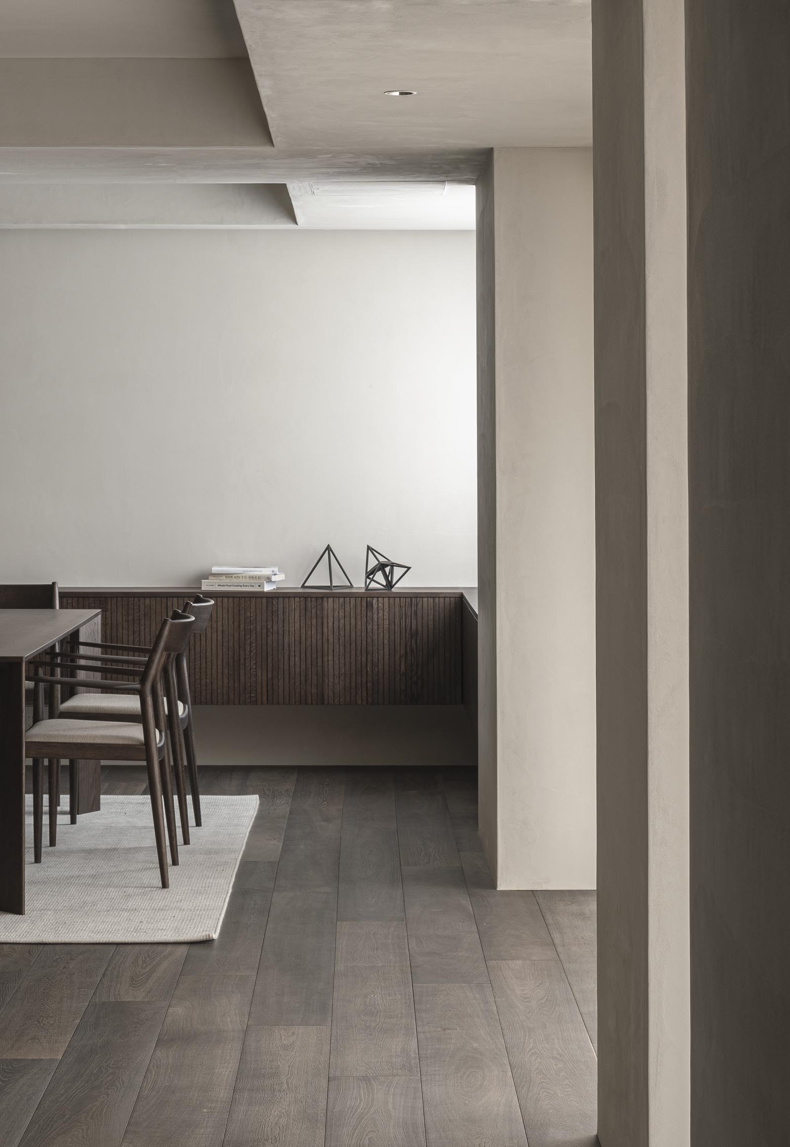 Minimalist dining room from Karimoku Case Study, with earthy tones, Japandi design and bespoke cabinetry | These Four Walls blog