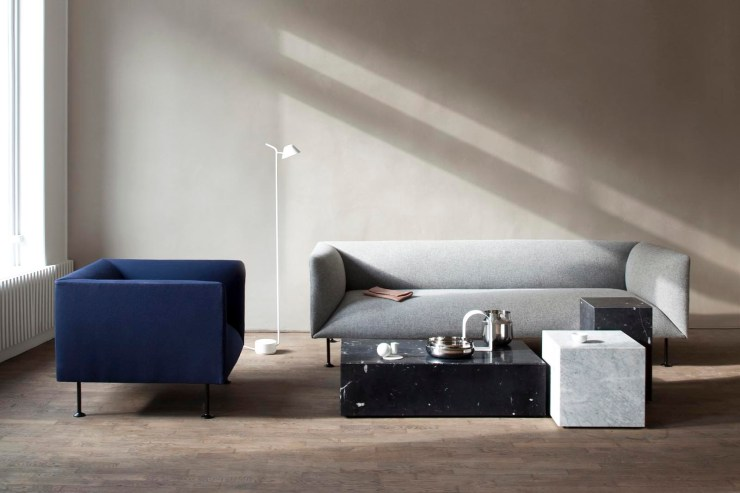 Minimalist living room with grey sofa, blue armchair and marble 'Plinth' tables by Menu | The design classics of the future | These Four Walls blog