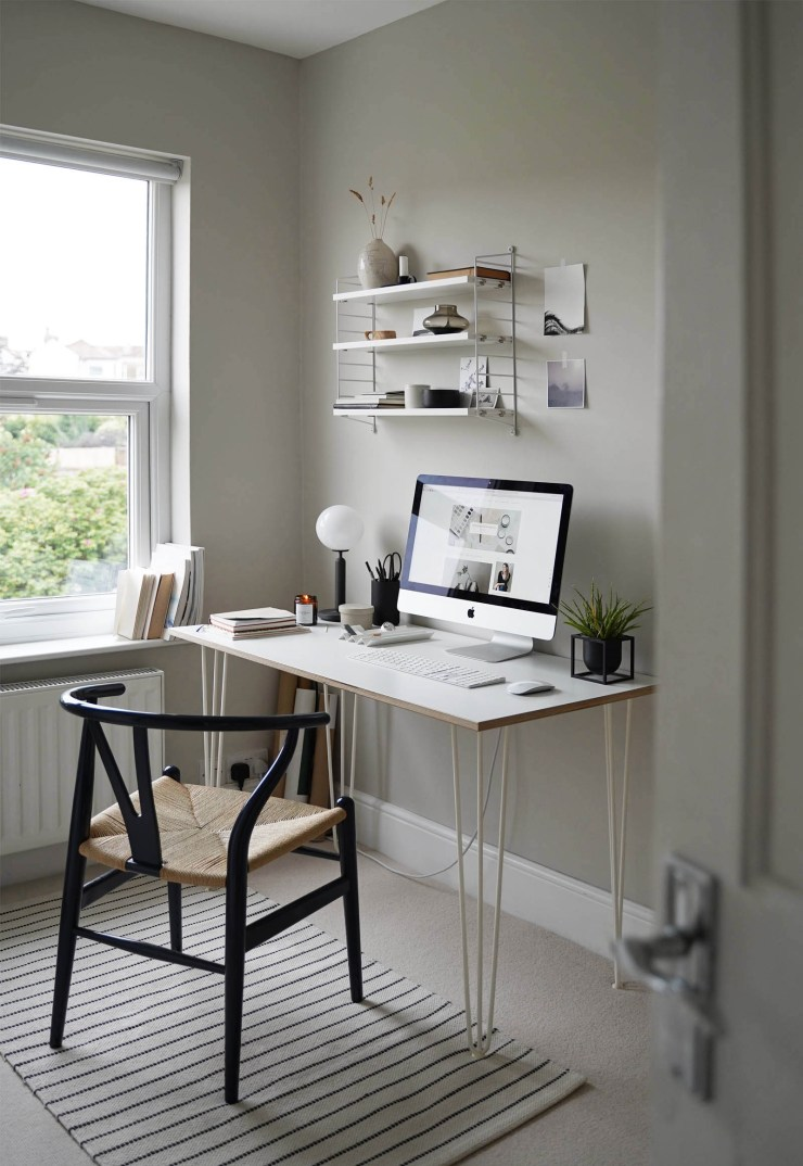 My calming grey home office