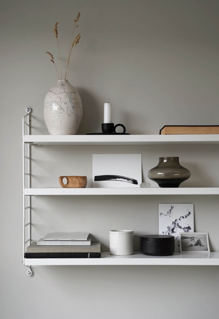 Minimalist shelf styling in a calming, neutral home office   These Four Walls blog
