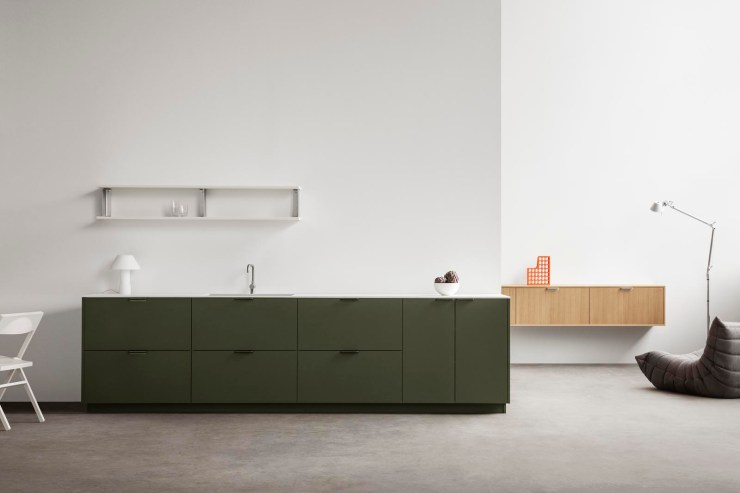 A stylish IKEA kitchen hack featuring dark green fronts, oak cupboards and open shelves from Reform's functional new 'UNIT' collection | New finds - July 2021 | These Four Walls blog