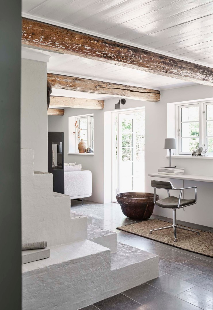 Rustic-minimalist living room at the Vipp Farmhouse - a Scandinavian holiday cottage deep in the Danish countryside   These Four Walls blog