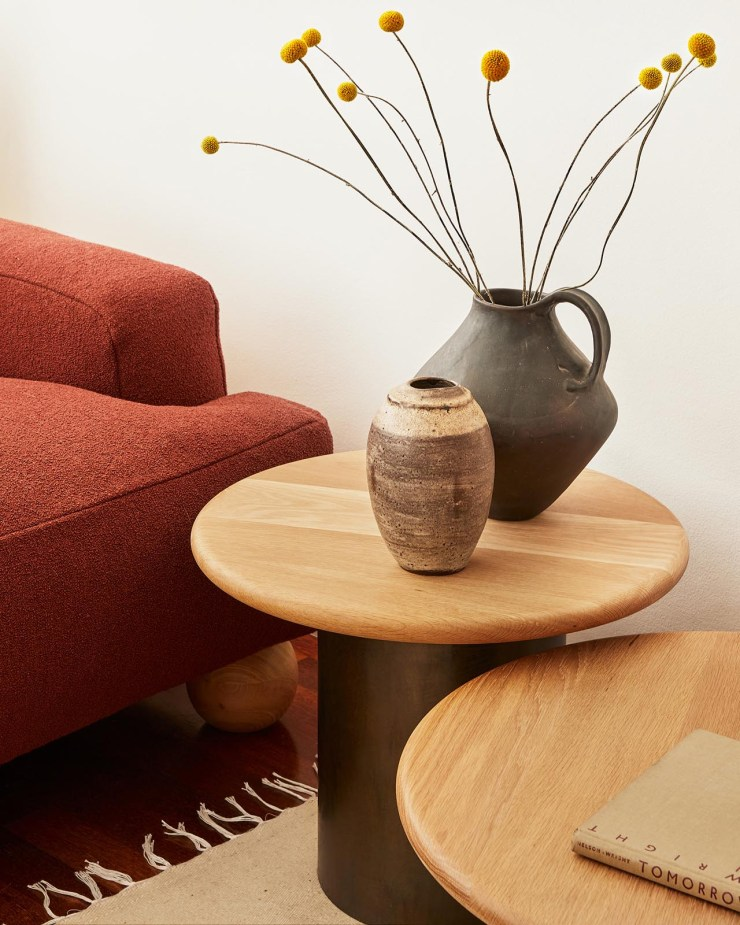 Minimalist circular coffee tables and red bouclé sofa from Fred Rigby's new Everyday Collection | These Four Walls blog