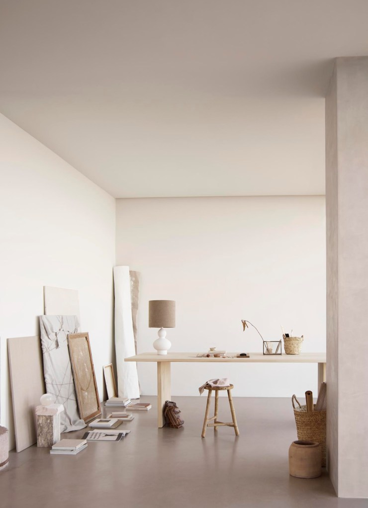 Soft minimalist home office in beige and earthy tones from Tine K Home's latest collection | These Four Walls blog