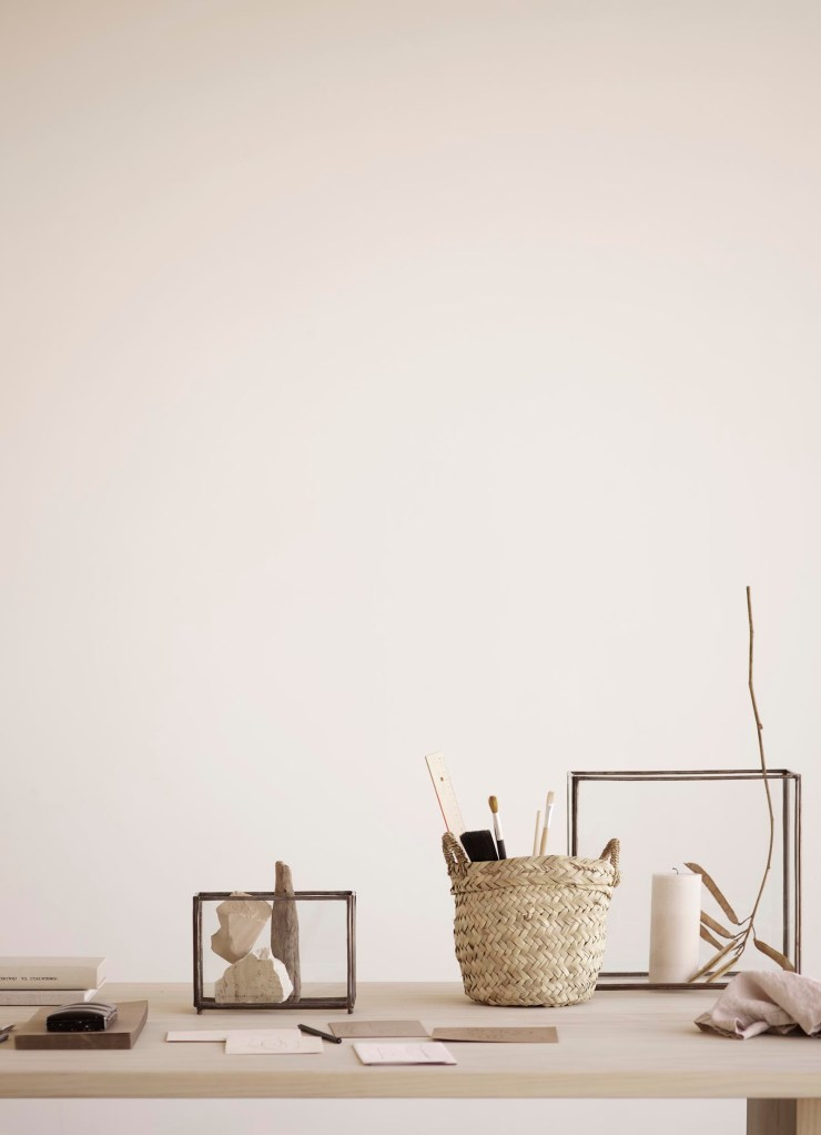 Minimalist desk setup with earthy neutrals and natural materials from Tine K Home's latest collection | These Four Walls blog