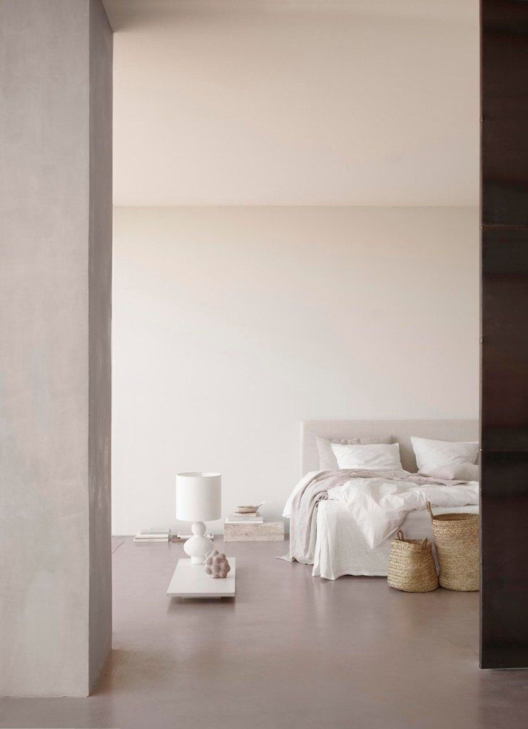 Soft, minimalist bedroom with white linen and furniture from Tine K Home's latest collection | These Four Walls blog