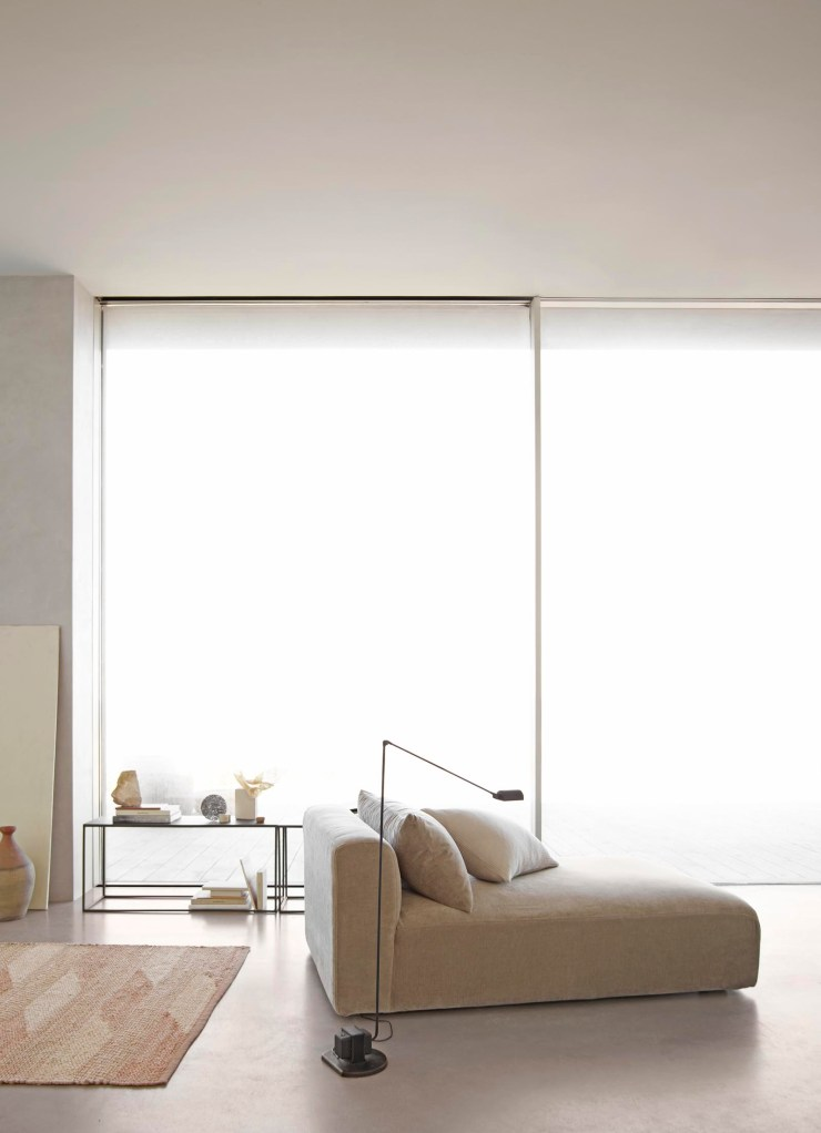 Contemporary minimalist living area with soft beiges and neutral tones | Tine K Home's latest collection | These Four Walls blog