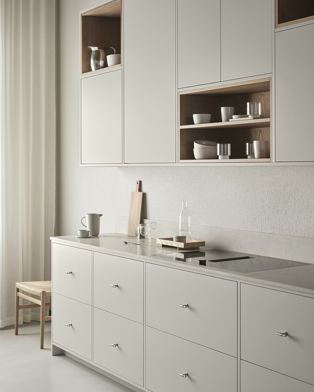 Minimalist kitchen in grey, beige and oak, with stone worktops and sections of open shelving | Eight inspiring kitchen ideas from Nordiska Kök's new showroom | These Four Walls blog