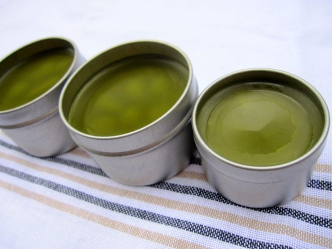 Herbal hand salve in metal tins