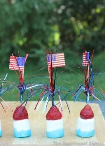 Patriotic Sticks – Strawberry Marshmallow Kabobs