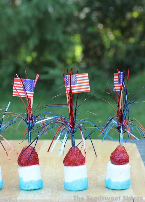 Patriotic Sticks - Strawberry Marshmallow Kabobs