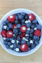 Red White and Blueberry Snack with Stuffed Raspberries