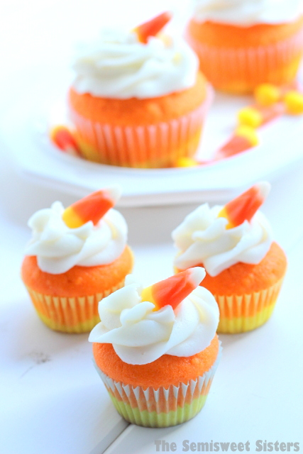 Mini Candy Corn Halloween Cupcakes