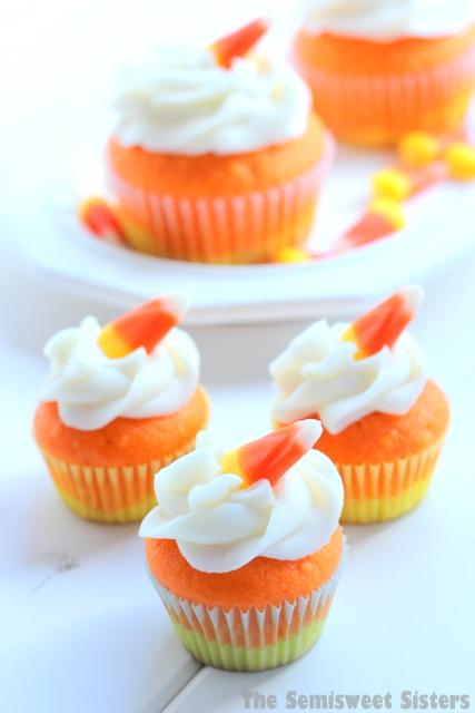 Mini Candy Corn Halloween Cupcakes