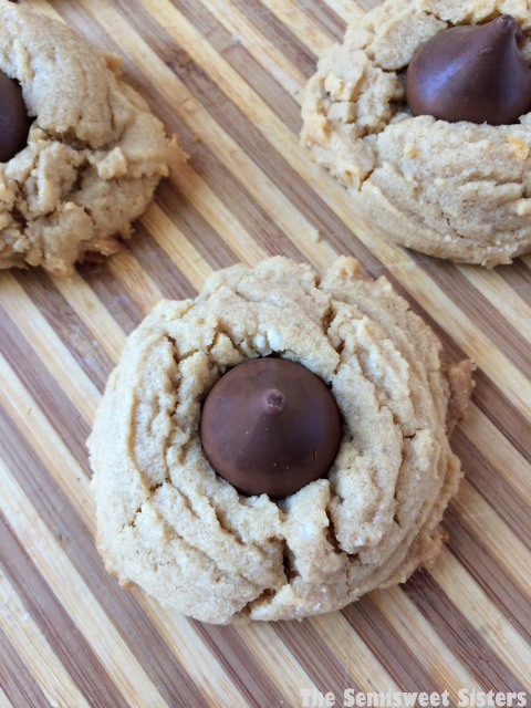 Peanut Butter Kiss Cookies with Coconut Oil