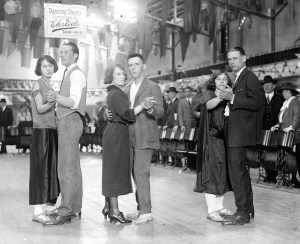Marathon dancers compete in 1923. During the Depression, many entered the competitions for the free food. (Photo from the Library of Congress)