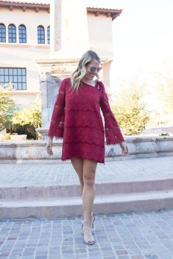 The cutest lace dress for a Christmas party