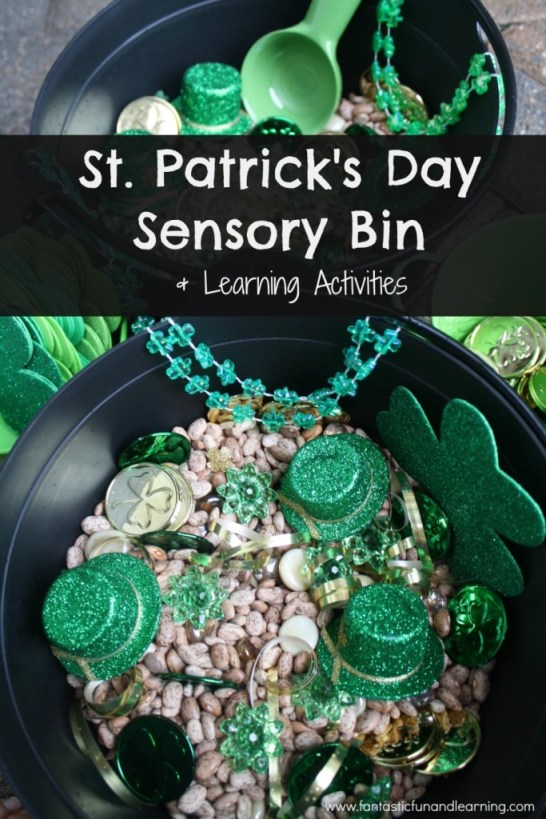 St. Patrick's Day Sensory Bin. Click for more colorful #stpatrick sensory bins