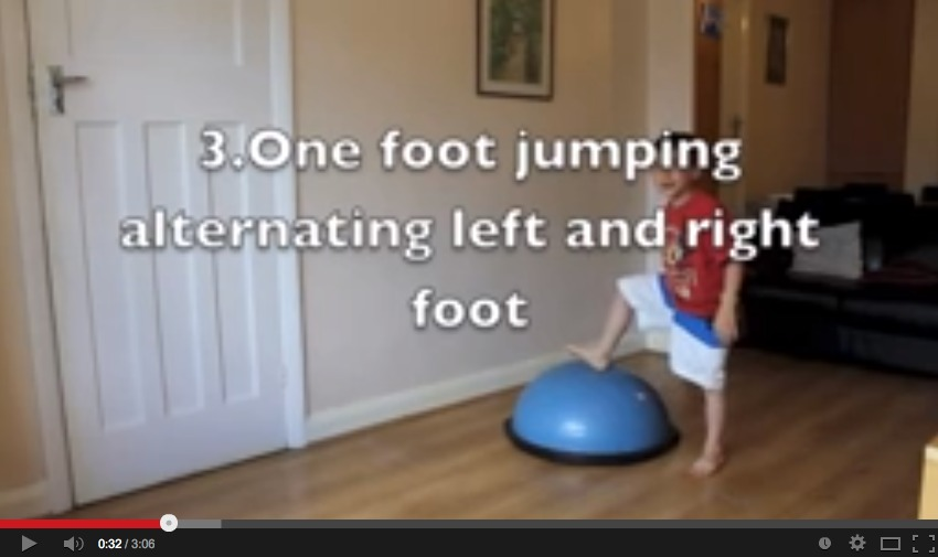 OT Mini Trampoline and Bosu Ball Exercises You can Do With Your Children at Home