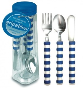 Pencil Grip Gripable Comfortable Cutlery, Fork, Knife, Spoon with Gripable Handles, Blue and White Handles (fine motor tools)