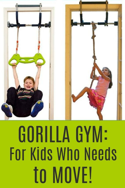 Gorilla Gym Kids with Indoor Swing, Plastic Rings, Trapeze Bar, Climbing Ladder, and Swinging Rope - Gross Motor, Proprioception, Vestibular Movement
