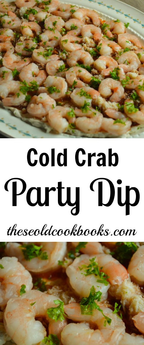 Appetizers, like shrimp served with this Cold Crab Party Dip, are our favorite dishes at family gatherings.
